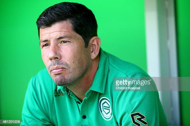 Head coach Erwin van de Looi of Groningen looks on prior to the friendly match between FC Groningen and FC Southampton at Euroborg Arena on July 18...