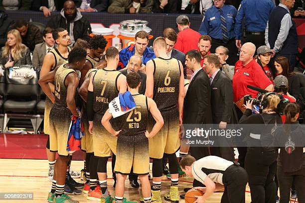 Head coach Ettore Messina of the World Team huddles the team during the BBVA Compass Rising Stars Challenge against the USA Team as part of the 2016...