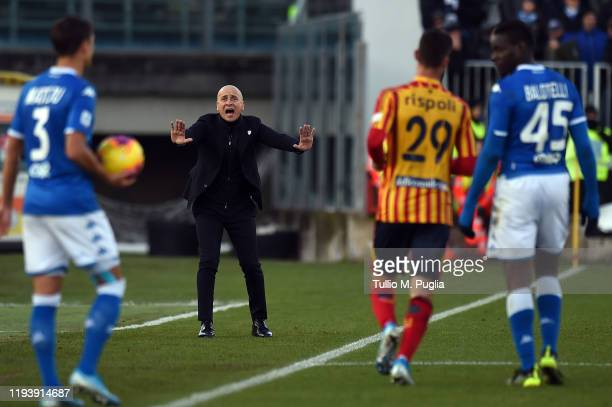 Head coach Eugenio Corini of Brescia gestures during the Serie A match between Brescia Calcio and US Lecce at Stadio Mario Rigamonti on December 14,...