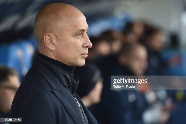 Head coach Eugenio Corini of Brescia looks on during the Serie A match between Brescia Calcio and US Lecce at Stadio Mario Rigamonti on December 14,...