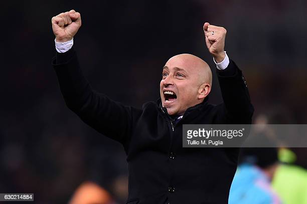 Head coach Eugenio Corini of Palermo celebrates after winning the Serie A match between Genoa CFC and US Citta di Palermo at Stadio Luigi Ferraris on...