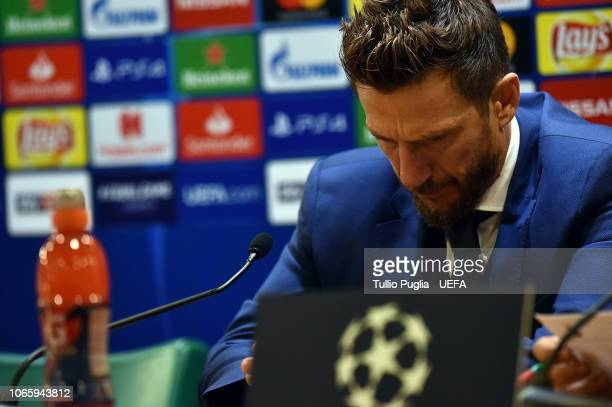 Head coach Eusebio Di Francesco of AS Roma answers questions during a press conference after the Group G match of the UEFA Champions League between...