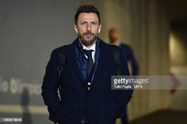 Head coach Eusebio Di Francesco of AS Roma arrives prior the Group G match of the UEFA Champions League between AS Roma and Real Madrid at Stadio...