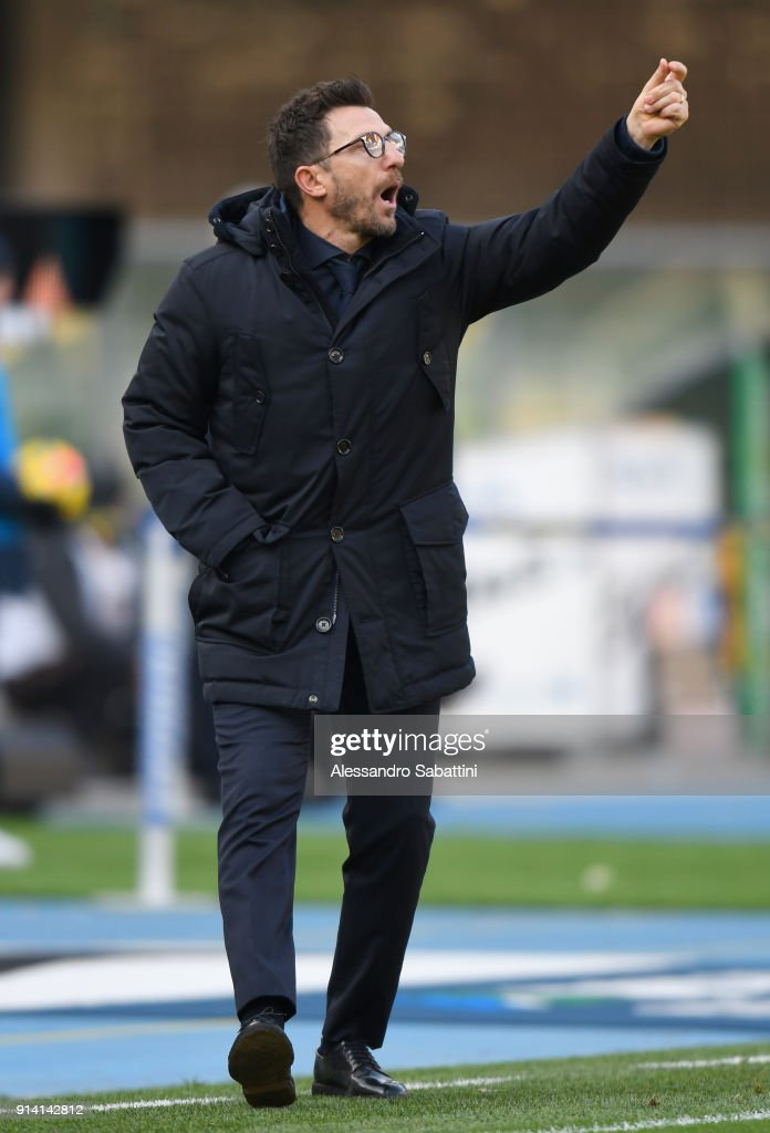 head coach Eusebio Di Francesco of AS Roma gestures during the serie A match between Hellas Verona FC and AS Roma at Stadio Marc'Antonio Bentegodi on February 4, 2018 in Verona, Italy.