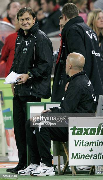 Head coach Ewald Lienen of Hannover smiles during the Bundesliga match bewteen 1.FC Cologne and Hanover 96 at the RheinEnergie Stadium on October 16,...