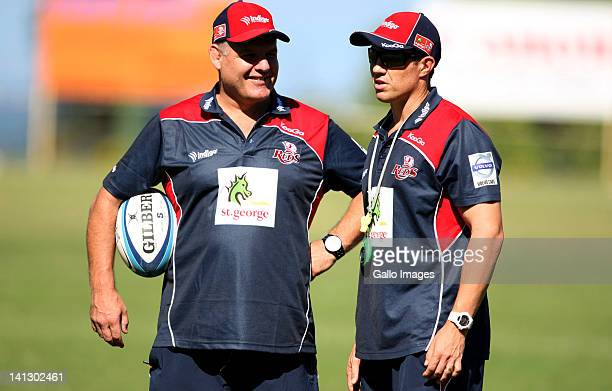 Head coach, Ewen McKenzie of St.George Queensland Reds with assistant coach Matt Taylor during a Reds training session at Northwood School on March...