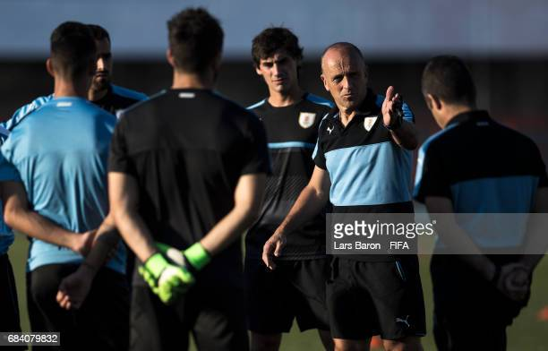 Head coach Fabian Coito is seen during an Uruguay training session for the FIFA U20 World Cup Korea Republic at Suwon Sports Complex on May 17 2017...