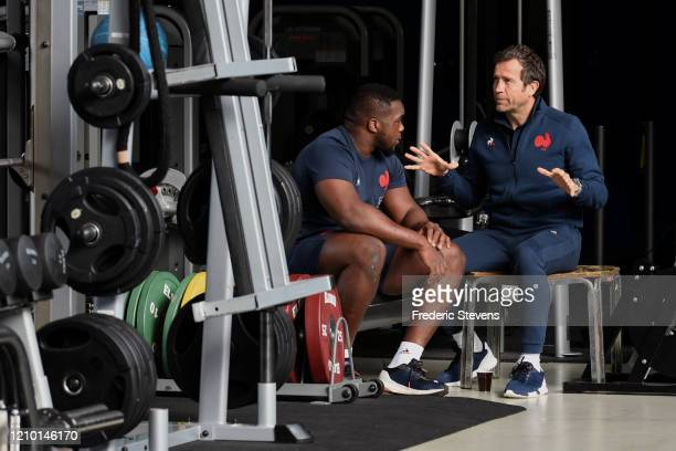 Head coach Fabien Galthie and Demba Bemba during the National Rugby Center squad training at the Sportsground before the Nat West Six Nations match...