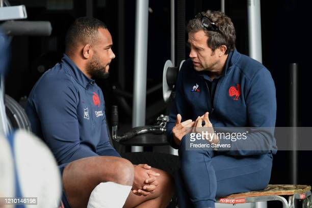 Head coach Fabien Galthie and Jefferson Poirot during the National Rugby Center squad training at the Sportsground before the Nat West Six Nations...