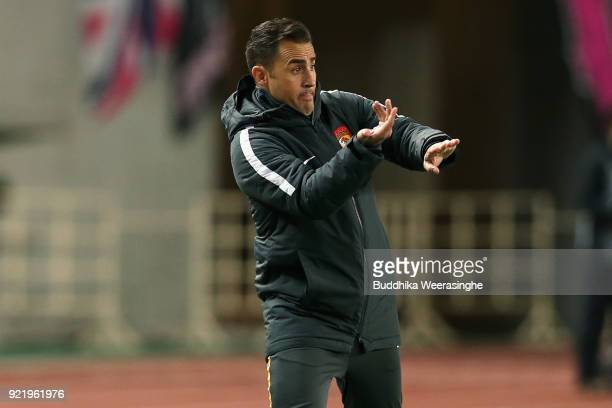 Head coach Fabio Cannavaro of Guangzhou Evergrande gestures during the AFC Champions League Group G match between Cerezo Osaka and Gunazhou...