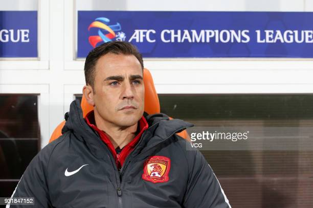 Head coach Fabio Cannavaro of Guangzhou Evergrande looks on during the 2018 AFC Champions League Group G match between Jeju United and Guangzhou...