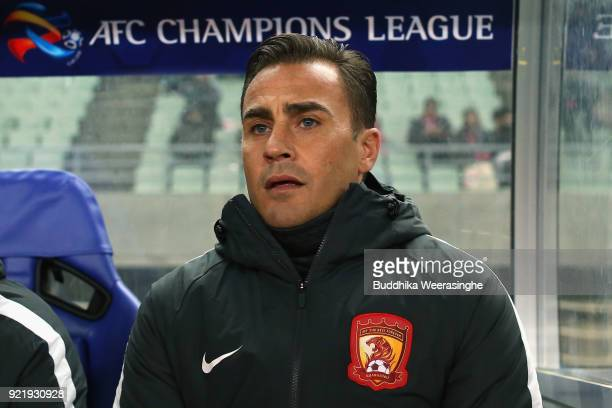 Head coach Fabio Cannavaro of Guangzhou Evergrande looks on prior to the AFC Champions League Group G match between Cerezo Osaka and Gunazhou...