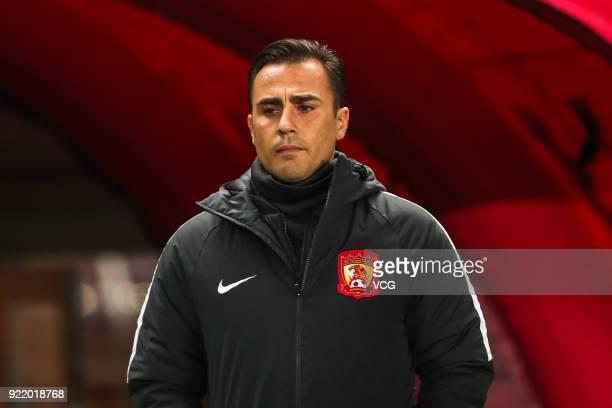 Head coach Fabio Cannavaro of Guangzhou Evergrande reacts during the AFC Champions League Group G match between Cerezo Osaka and Guangzhou Evergrande...