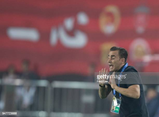 Head coach Fabio Cannavaro of of Guangzhou Evergrande Taobao react during the 2018 AFC Champions League Group G match between Gunagzhou Evergrande...