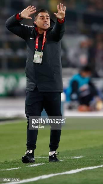 Head coach Fabio Cannavaro of of Guangzhou Evergrande Taobao react during 2018 China Super League match between Beijing Guoan and Guangzhou...