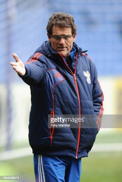Head coach Fabio Capello of Russia oversees a training session ahead of the forthcoming international friendly match between Brazil and Russia at...