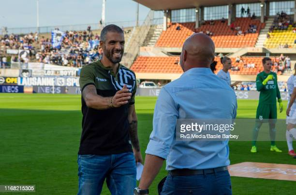 Head Coach Fabio Celestini of FC Lugano greats with Head Coach Giorgio Contini of FC Lausanne-Sport before the Helvetia Swiss Cup 2nd round match...