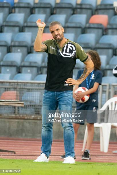 Head Coach Fabio Celestini of FC Lugano reacts during the Helvetia Swiss Cup 2nd round match between FC Lausanne-Sport and FC Lugano at Stade...