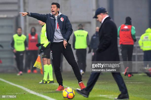 head coach Fabio Grosso of Bari issues instructions to his players during the TIM Cup match between US Sassuolo and Bari on November 29 2017 in...