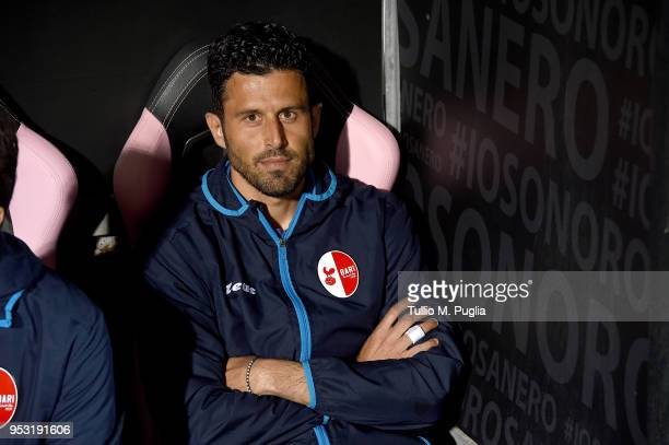 Head coach Fabio Grosso of Bari looks on during the serie A match between US Citta di Palermo and AS Bari at Stadio Renzo Barbera on April 30 2018 in...