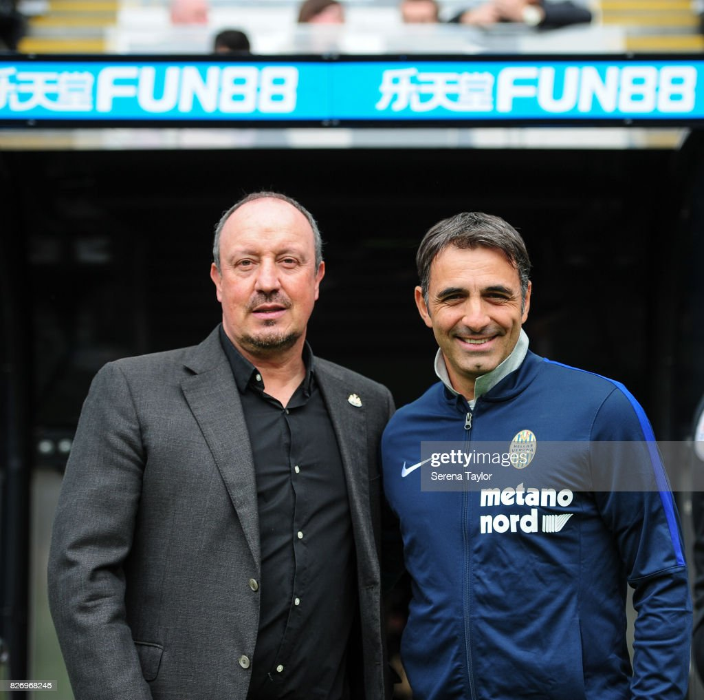 Head Coach Fabio Pecchia (R) and Newcastle Unitedâs Manager Rafael Benitez (L) during the Pre Season Friendly match between Newcastle United and Hellas Verona at St.James' Park on August 6, 2017, in Newcastle upon Tyne, England.