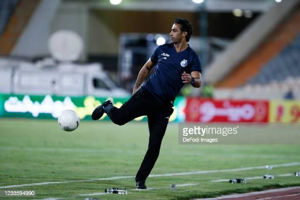 Head Coach Farhad Majidi of Esteghlal controls the ball during the Persian Gulf Pro League match between Esteghlal and Padideh FC at Azadi Stadium on...