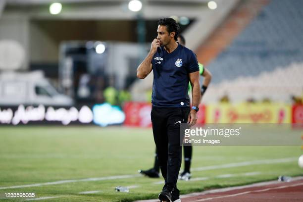Head Coach Farhad Majidi of Esteghlal looks on during the Persian Gulf Pro League match between Esteghlal and Padideh FC at Azadi Stadium on June 21,...