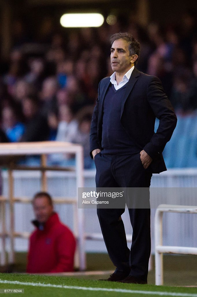Head Coach Farid Benstiti of Paris Saint-Germain looks on during the UEFA Women's Champions League Quarter Final first leg match between FC Barcelona and Paris Saint-Germain at Miniestadi on March 23, 2016 in Barcelona, Spain.
