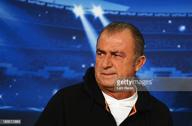 Head coach Fatih Terim is seen during a Galatasaray AS press conference ahead of their UEFA Champions League round of 16 match against FC Schalke 04...