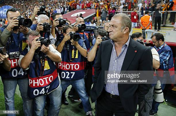 Head coach Fatih Terim of Galatasaray AS looks on before the UEFA Champions League group B match between Galatasaray AS and Real Madrid at Ali Sami...