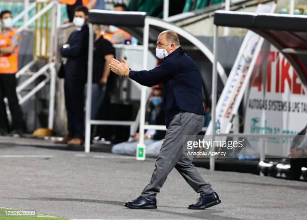 Head coach Fatih Terim of Galatasaray celebrates after a goal during the Turkish Super Lig week 41 match between Yukatel Denizlispor and Galatasaray...