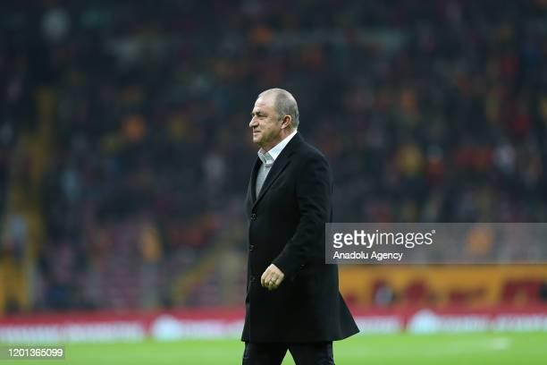 Head coach Fatih Terim of Galatasaray greets fans ahead of Turkish Super Lig soccer match between Galatasaray and BtcTurk Yeni Malatyaspor in...
