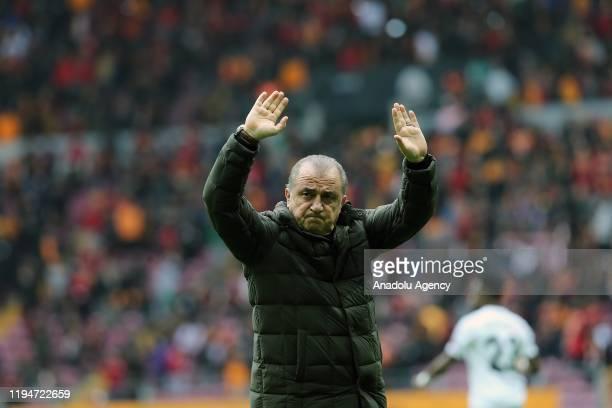 Head Coach Fatih Terim of Galatasaray greets fans before the Turkish Super Lig week 18 soccer match between Galatasaray and Yukatel Denizlispor in...