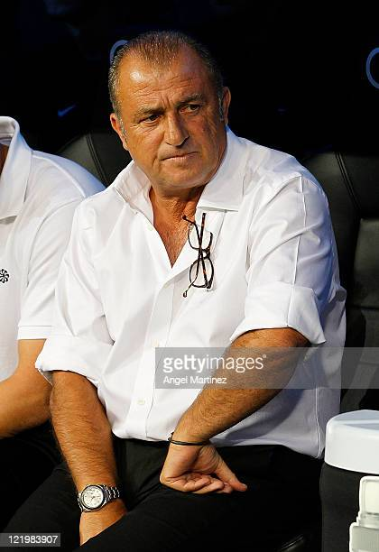 Head coach Fatih Terim of Galatasaray looks on during the Santiago Bernabeu Trophy match between Real Madrid and Galatasaray at Estadio Santiago...