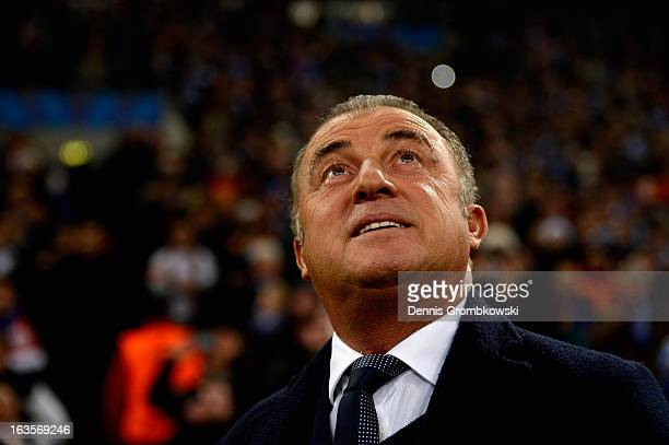 Head coach Fatih Terim of Galatasaray reacts prior to the UEFA Champions League round of 16 second leg match between Schalke 04 and Galatasaray AS at...