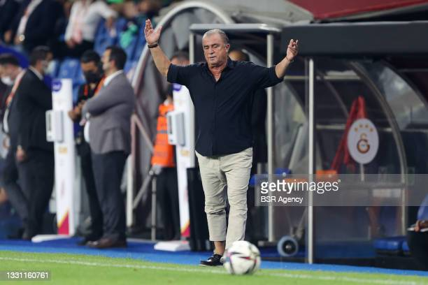 Head coach Fatih Terim of Galatasaray shows his disappointment during the UEFA Champions League Second Qualifying Round: Second Leg match between...