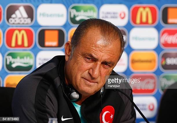 Head Coach Fatih Terim of Turkey talks to the media during the Turkey Press Conference at the Stade Bollaert-Delelis on June 20, 2016 in Lens, France.