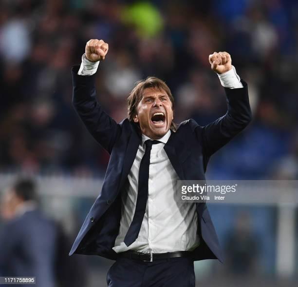 Head coach FC Internazionale Antonio Conte celebrates at the end of the Serie A match between UC Sampdoria and FC Internazionale at Stadio Luigi...