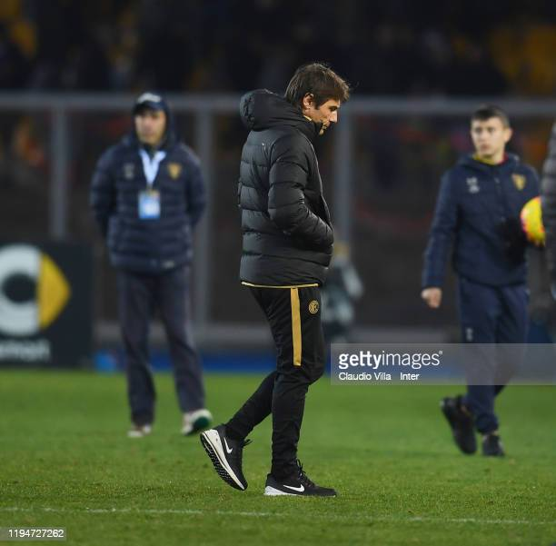 Head coach FC Internazionale Antonio Conte dejected at the end of the Serie A match between US Lecce and FC Internazionale at Stadio Via del Mare on...