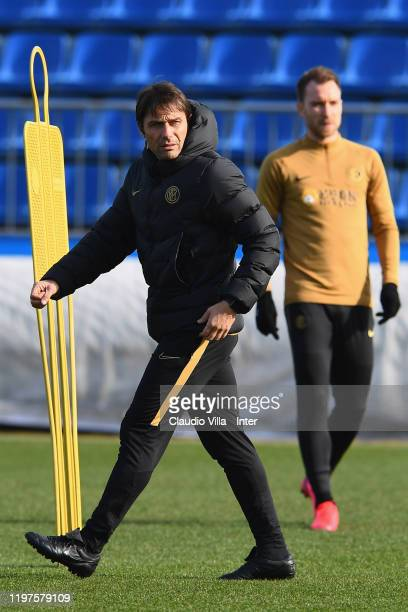Head coach FC Internazionale Antonio Conte looks on during FC Internazionale training session at Appiano Gentile on January 30, 2020 in Como, Italy.