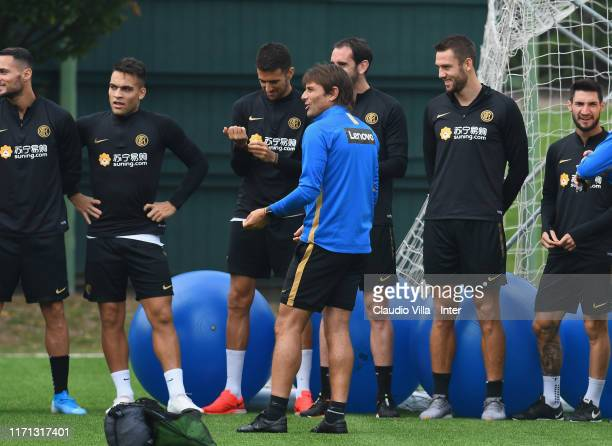Head coach FC Internazionale Antonio Conte reacts during FC Internazionale training session at Appiano Gentile on September 26, 2019 in Como, Italy.