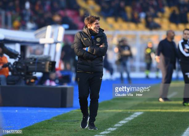 Head coach FC Internazionale Antonio Conte reacts during the Serie A match between US Lecce and FC Internazionale at Stadio Via del Mare on January...