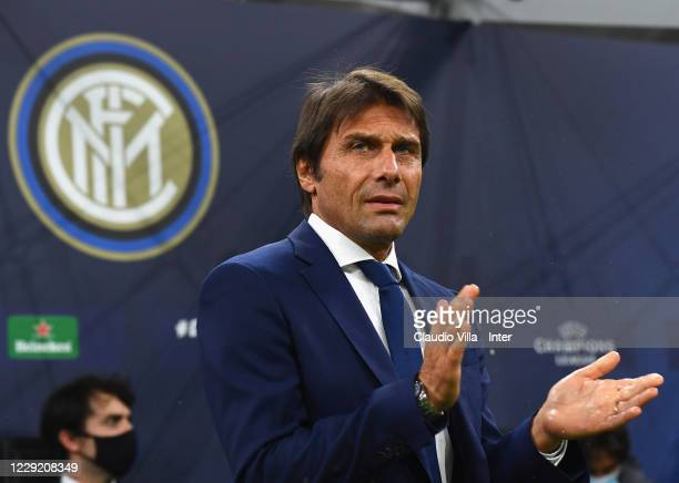 Head coach FC Internazionale Antonio Conte reacts during the UEFA Champions League Group B stage match between FC Internazionale and Borussia...