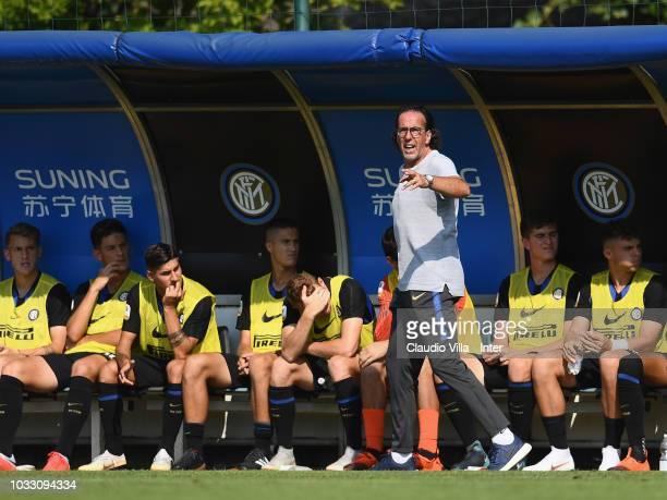 Head coach FC Internazionale Armando Madonna reacts during Fc Internazionale U19 V Cagliari U19 match at Stadio Breda on September 14 2018 in Sesto...