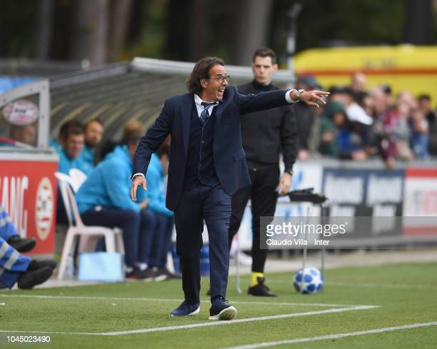 Head coach FC Internazionale Armando Madonna reacts during the the UEFA Youth League match between PSV U19 and FC Internazionale U19 at Philips...
