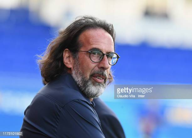 Head coach FC Internazionale Armando Madonna reacts during the UEFA Youth League match between FC Barcelona and FC Internazionale on October 2 2019...