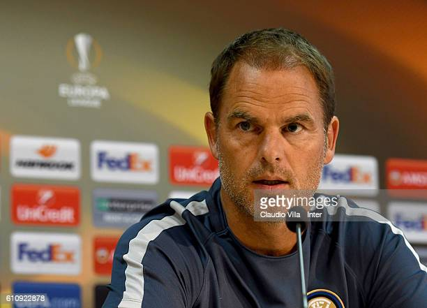 Head coach FC Internazionale Frank de Boer speaks with the media during the FC Internazionale Press Conference at Generali Stadium on September 28...