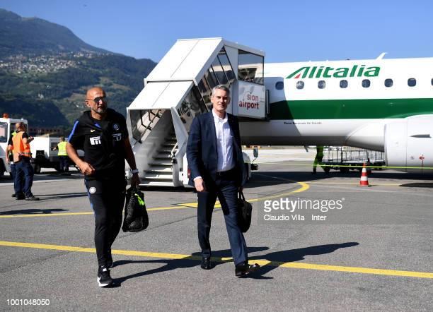 Head coach FC Internazionale Luciano Spalletti and CEO FC Internazionale Alessandro Antonello arrive to Sion Airport on July 18 2018 in Varese Italy