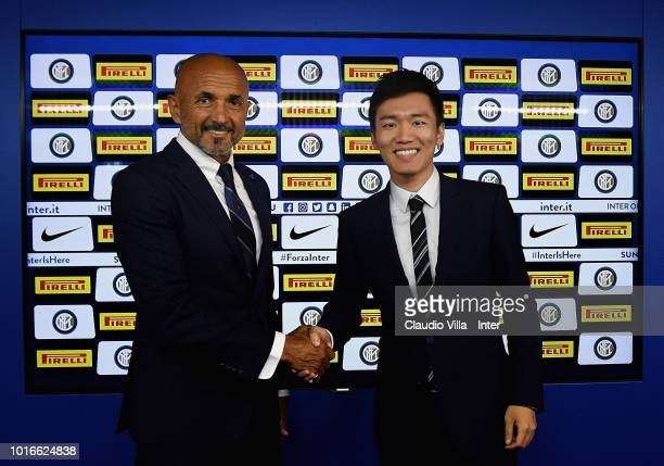 Head coach FC Internazionale Luciano Spalletti and FC Internazionale Milano board member Steven Zhang Kangyang pose for a photo during extends...