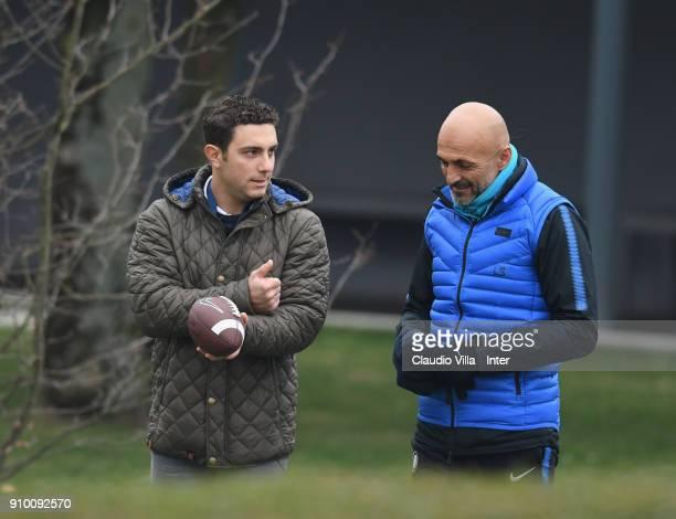 Head coach FC Internazionale Luciano Spalletti and Giorgio Tavecchio kicker of Oakland Raiders attend the FC Internazionale training session at...